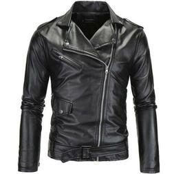 Men's Slim Fit Faux Leather Jackets Coats Zipper Motorcycle