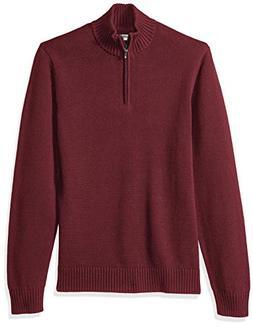 Goodthreads Men's Soft Cotton Quarter Zip Sweater, Solid Bur