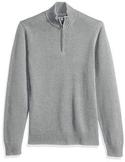 Goodthreads Men's Soft Cotton Quarter Zip Sweater, Heather G