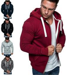 Mens Plain Color Zip Up Hoodie Classic Winter Hooded Sweatsh