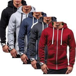 Men's Solid Color Zip Up Hoodie Classic Winter Hooded Sweats