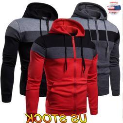 Men's Solid Zip Up Jacket Coat Tops Hoodie Classic Hooded Zi