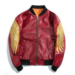 Men's spring Faux Leather Jackets Coats MORTORBIKE biker zip