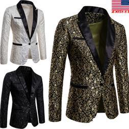 Men's Suit Coat Casual Slim Formal One Button Blazer Jacket