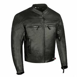 Men's Throttle Premium Leather Motorcycle Street Cruiser Arm
