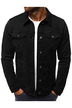 Hakjay Men's Unlined Denim Jacket Slim Fit Jeans Coat Long S