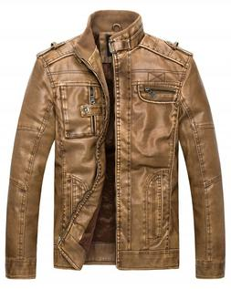 Wantdo Men's Vintage Stand Collar Faux Leather Jacket