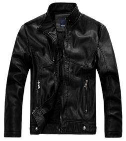 Chouyatou Men's Vintage Stand Collar Faux Leather Jacket 886