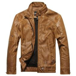 CHOUYATOU MEN'S VINTAGE STAND COLLAR MOTORCYCLE STYLE JACKET