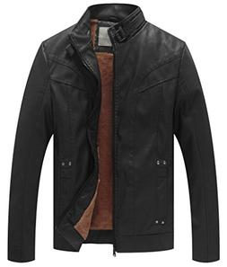men s vintage stand collar pu leather