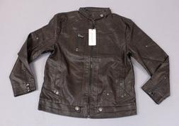 Chouyatou Men's Vintage Stand Collar PU Leather Jacket SH3 C