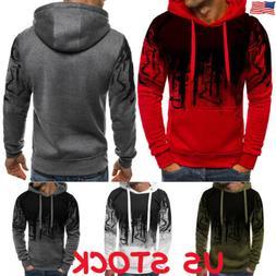 Men's Warm Hoodie Fleece Tops Hooded Jacket Casual Sweatshir