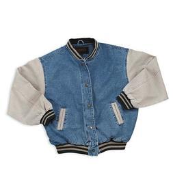 Men's Washed Vintage Denim Varsity Jacket