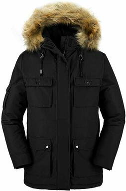 Wantdo Men's Winter Coat Fur Hooded Thicken Parka Puffer Jac