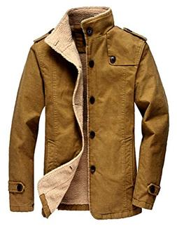 Vcansion Men's Winter Fleece Windproof Jacket Wool Outerwear