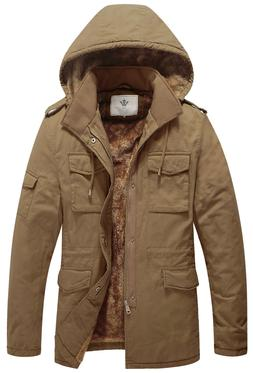 WenVen Men's Winter Military Thicken Parka Jacket with Remov