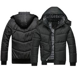 Men's Winter Hooded Warm Padded Coat Zip Quilted Jacket Pa