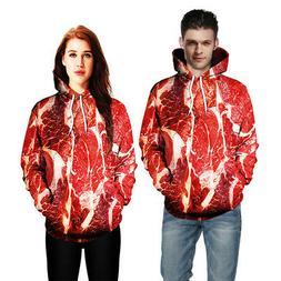 Men's Women Novelty Beef Meat 3D Print Long Sleeve Hoodie Sw