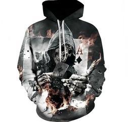 Men Skull Poker Hoodies Sweatshirts Fashion 3D Funny Rock Ou