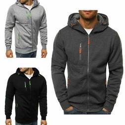Men Solid Zip Up Hoodie Classic Winter Hooded Sweatshirt Jac