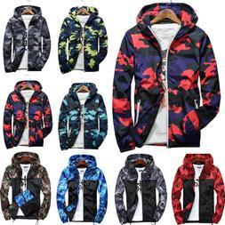 Men Waterproof Camo Windbreaker Hoodie Hooded Sweatshirt Zip