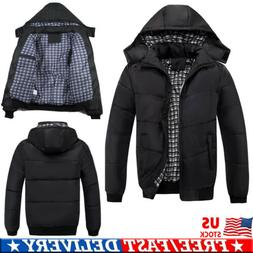 Men Winter Warm Ultralight Hooded Thick Padded Jacket Zipper