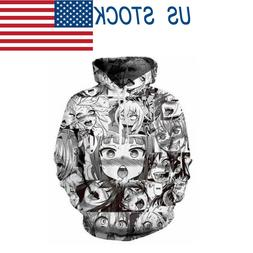 Men Women Fashion Anime Ahegao Funny 3D Print Pullover Cool
