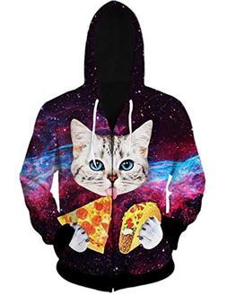 Uideazone Men Women Galaxy Pizza Cat Print Zipper Hoodie Swe