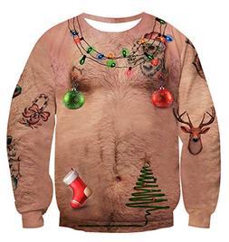 Uideazone Men Women Ugly Christmas Chest Hair Tee Shirt Funn