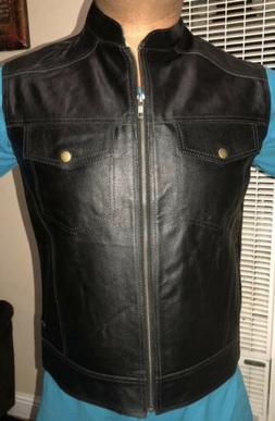 Men's Black Buffalo Split Leather Vest Biker Coat-motorcyc