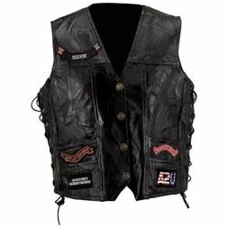 Mens Black Genuine Leather Motorcycle VEST w/ 14 Patches US