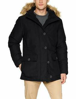 Goodthreads Mens Black Size Small S Faux Fur Hooded Parka Ja