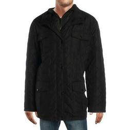 London Fog Mens Black Winter Quilted Coat Outerwear Big & Ta