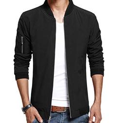 mens casual jacket zip up lightweight bomber