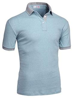 H2H Mens Casual Slim Fit Short Sleeve Polo Sky US M/Asia L