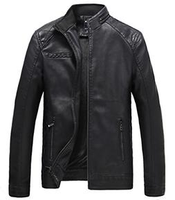 mens casual stand collar faux leather jacket