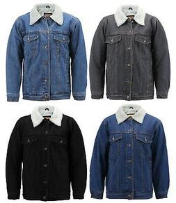 Men's Classic Button Up Sherpa Fleece Lined Cotton Denim T