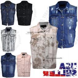 Mens Denim Coat Vest Jean Jacket Button Casual Sleeveless Vi