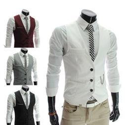 Mens Formal Business Slim Fit Chain Dress Vest Suit Tuxedo W