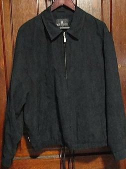 London Fog Mens Full Zip Up Black Jacket Coat Light Weight W