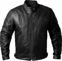 Mens Leather Motorcycle Jackets Black Moto Riding Motorbike