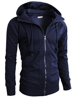 H2H Mens Lightweight Thin Zip-Up Hoodie Jacket With Plus Siz