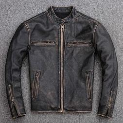 Men's Motorcycle Biker Vintage Distressed Black Faded Real