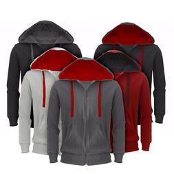 mens plain hoodie hooded fleece jacket slim