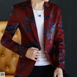 Mens Printed Floral Coats Jackets Dress Formal Blazer Suit S