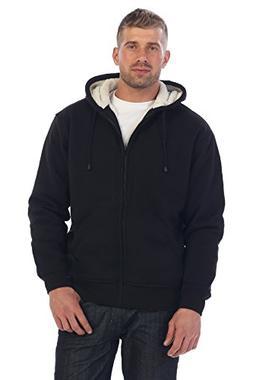 mens sherpa lined pull zip fleece hoodie