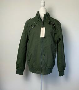Chouyatou Mens Size XL Jacket Coat Lined Olive Army Green Fu