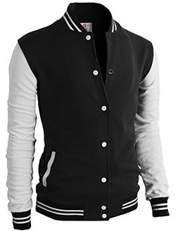 H2H Mens Slim Fit Varsity Baseball Bomber Cotton Lightweight