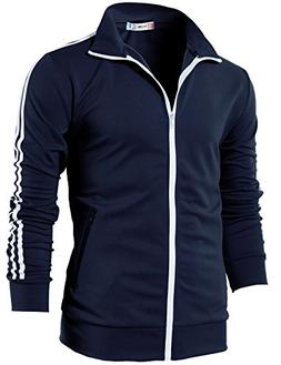 H2H Mens Slim Fit Zip-up Long Sleeves Training Jacket Navy U
