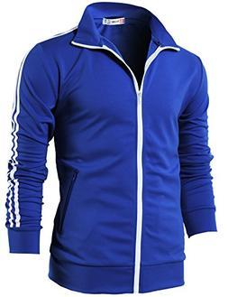 H2H Mens Slim Fit Zip-up Long Sleeves Elastic Training Jacke
